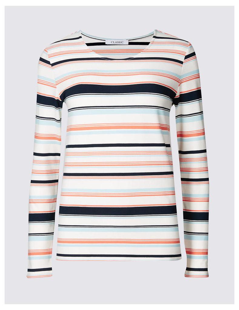 Classic Ponte Stripe Round Neck Long Sleeve T-Shirt