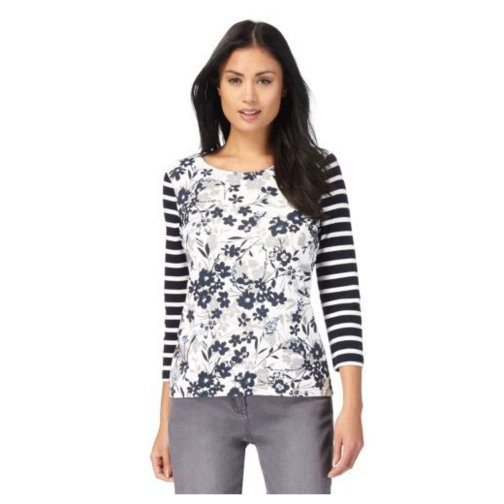 Maine New England Womens Off White Striped Floral Print Top From Debenhams 24