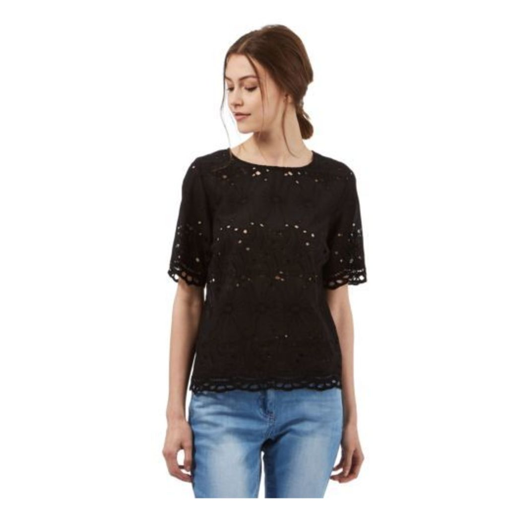 Red Herring Womens Black Embroidered Cut-Out Shell Top From Debenhams 8