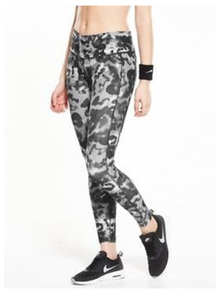 Nike Power Poly Printed Tight, Grey Multi, Size L, Women