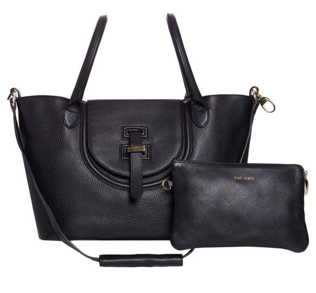 Halo Medium Tote Bag Black Reverse Handles
