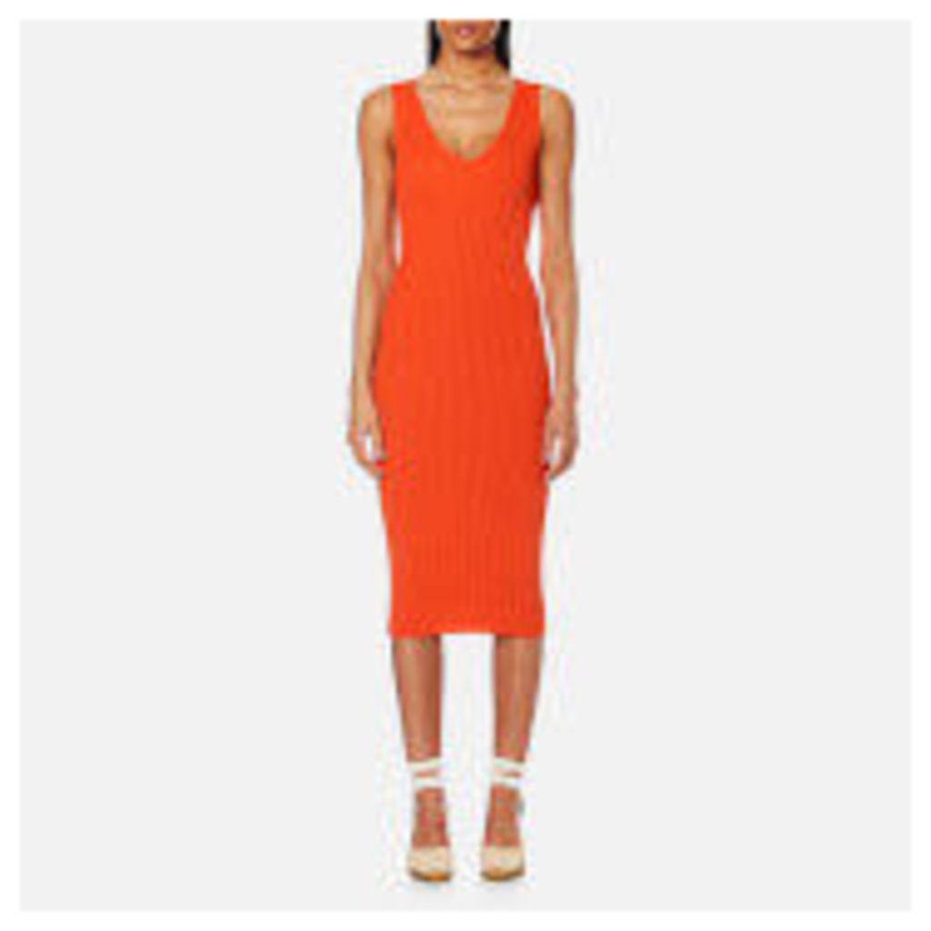 MICHAEL MICHAEL KORS Women's V Neck Rib Sweater Dress - Mandarin