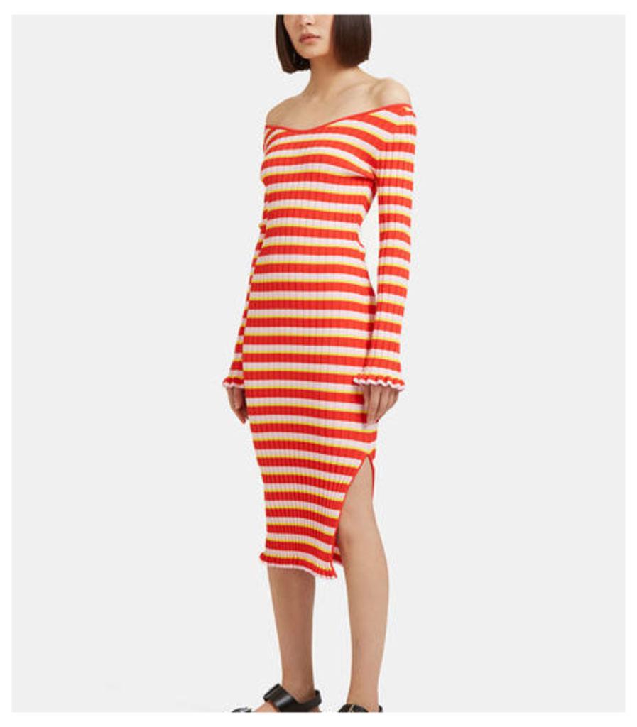 Socorro Striped Ribbed Dress