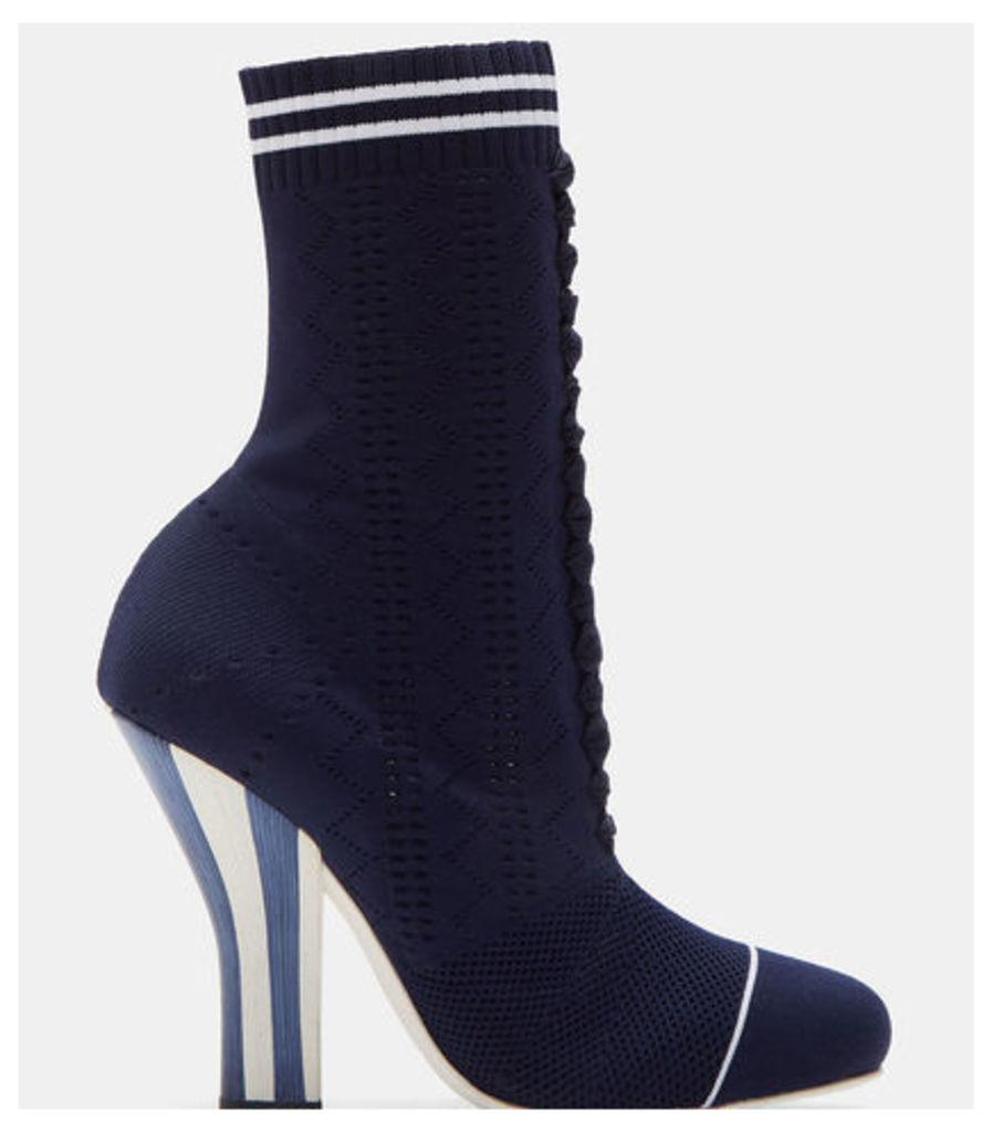 Women's Candy Striped Heel Sock Sneaker Boots in Navy
