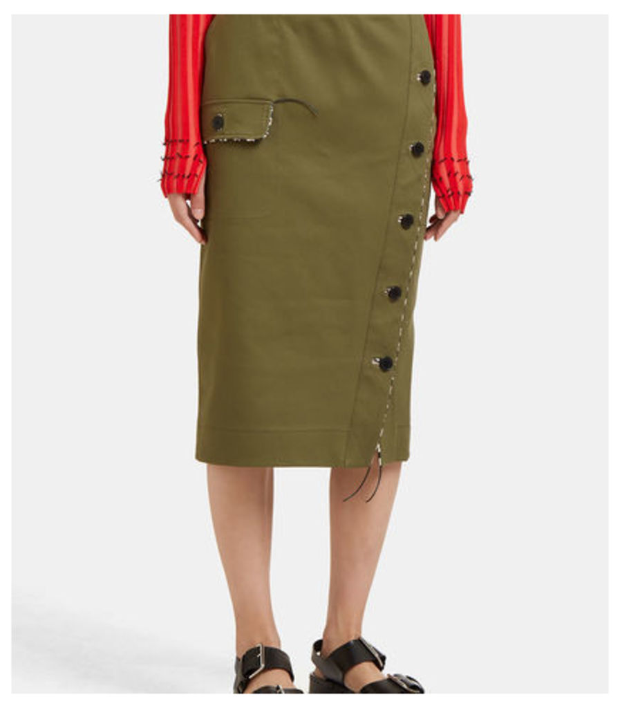 Curry Buttoned Pencil Skirt