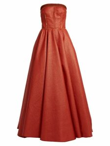 Sophie Theallet - Rust Bandeau Woven Raffia Gown - Womens - Red