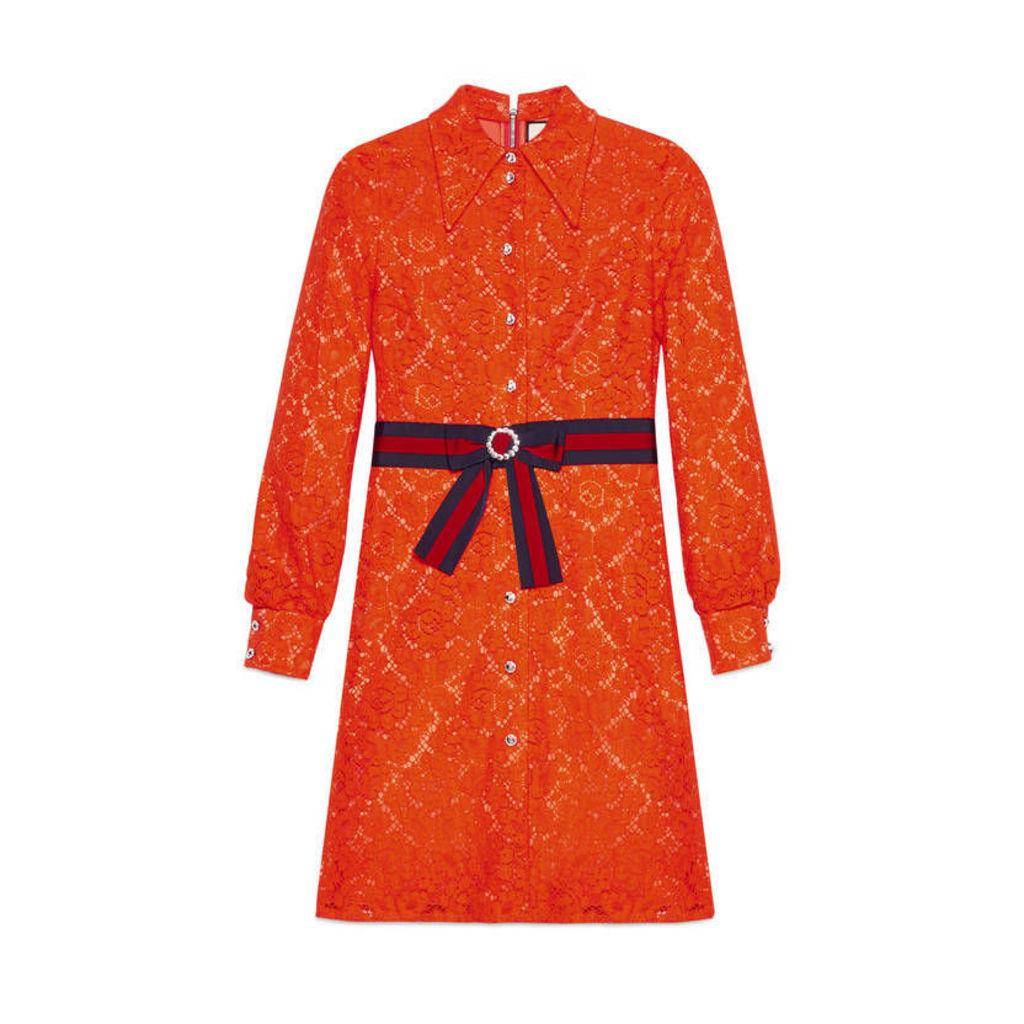 Cluny lace dress with Web waistband