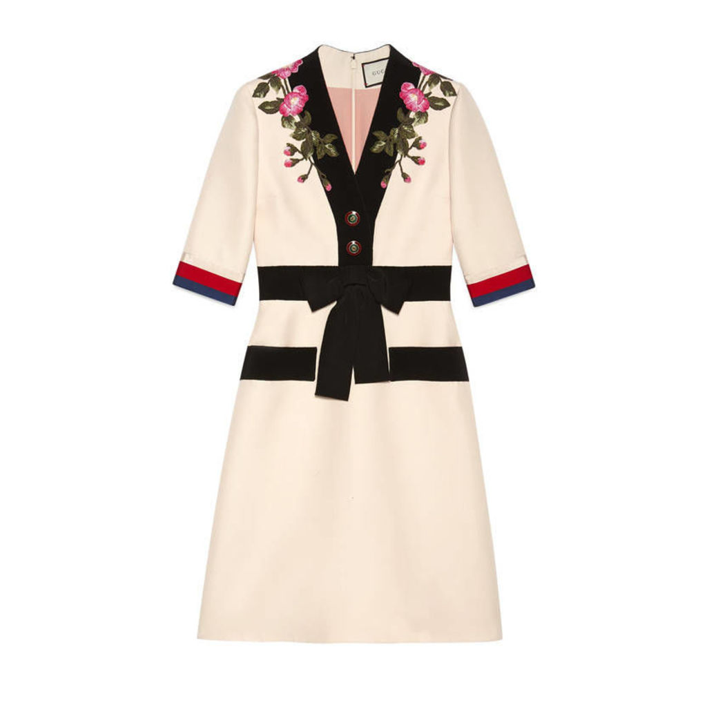 Embroidered wool silk dress