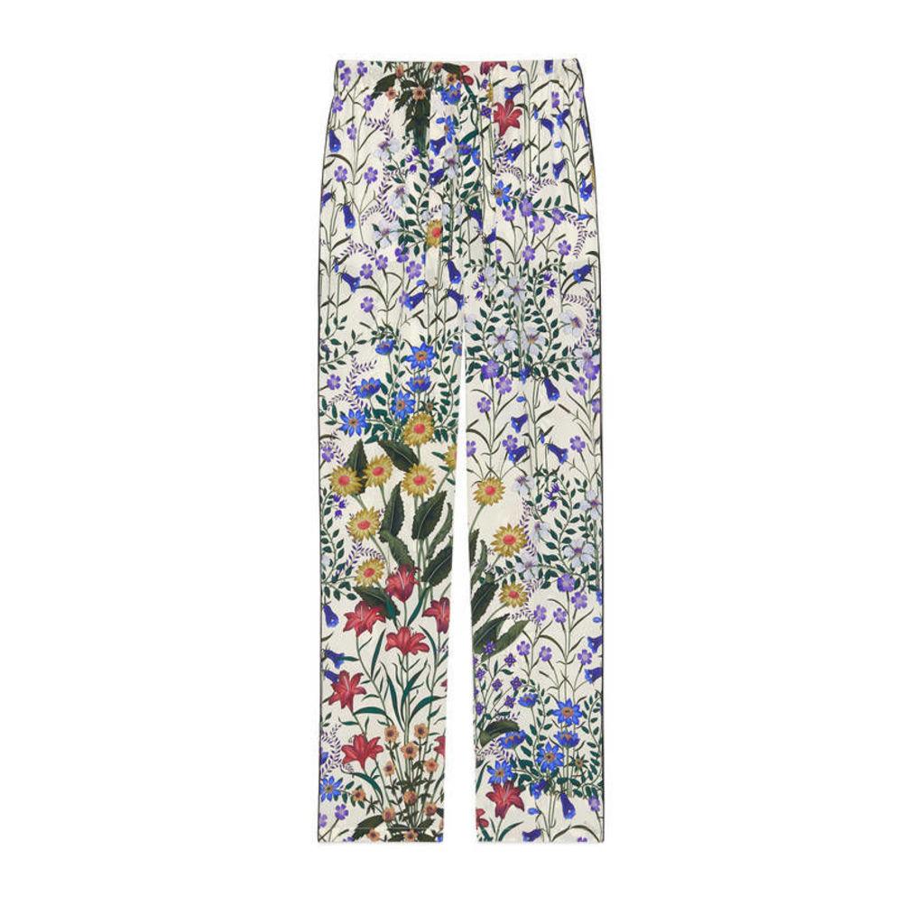New Flora print silk pajama pant