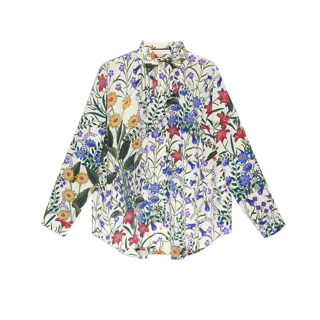 New Flora print oversize shirt