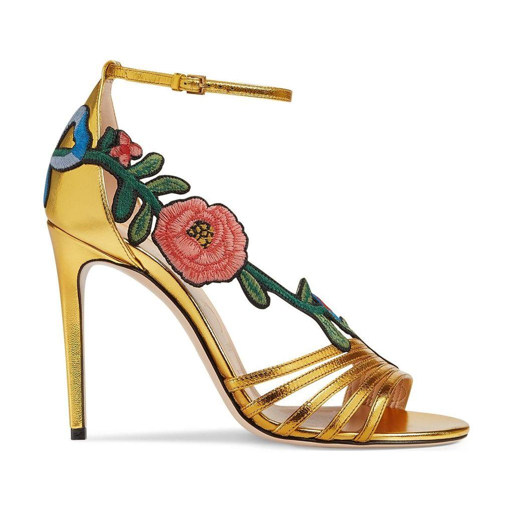 Embroidered metallic leather mid heel sandal