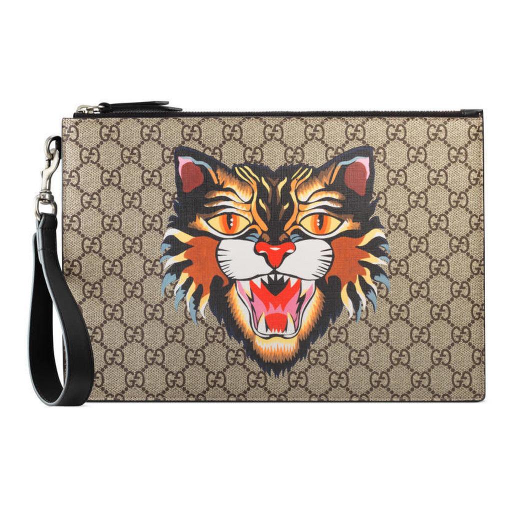 Cat print GG Supreme pouch