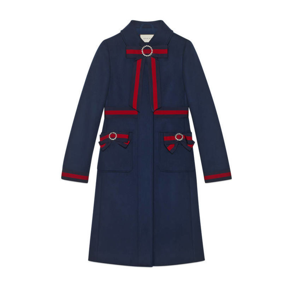 Wool coat with Web bows