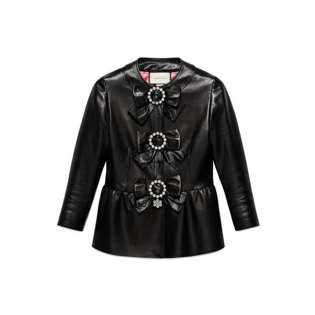 Plongè leather peplum jacket