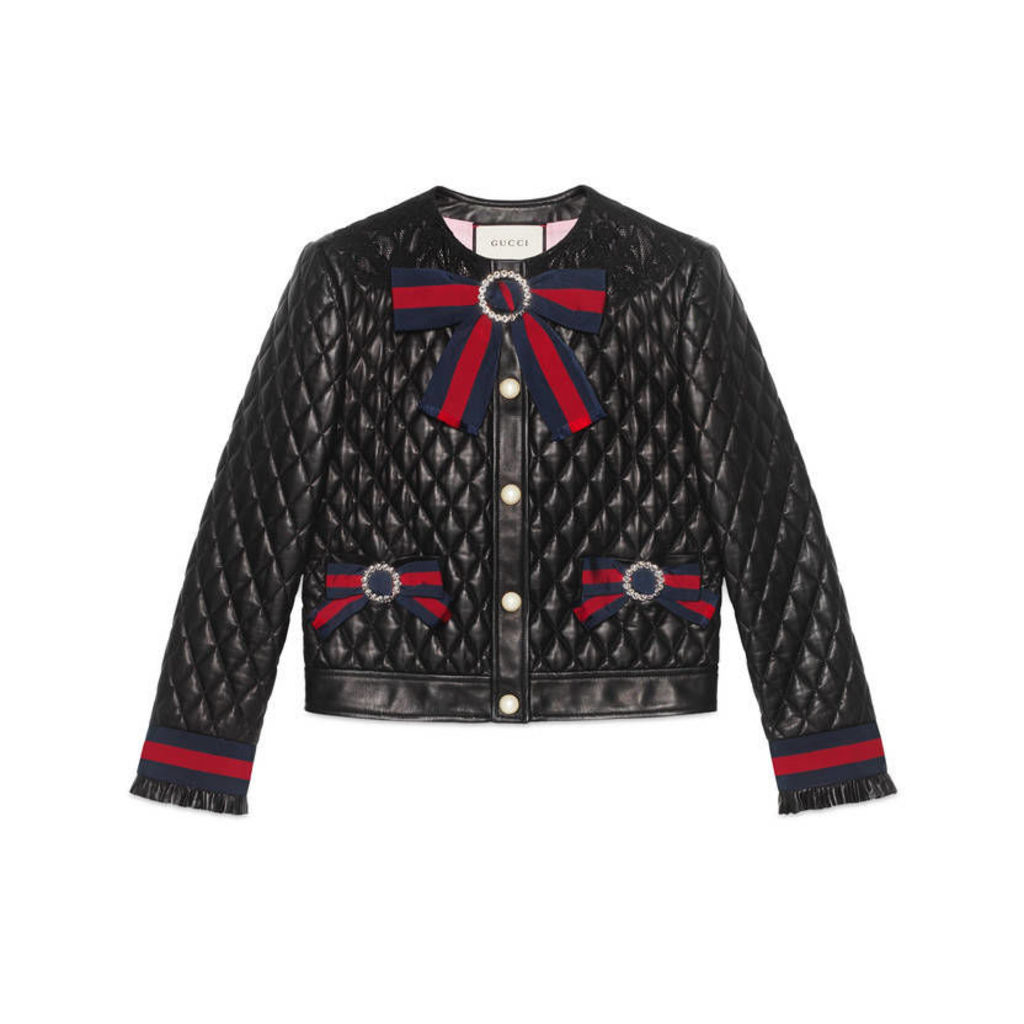 Quilted leather jacket with Web bows