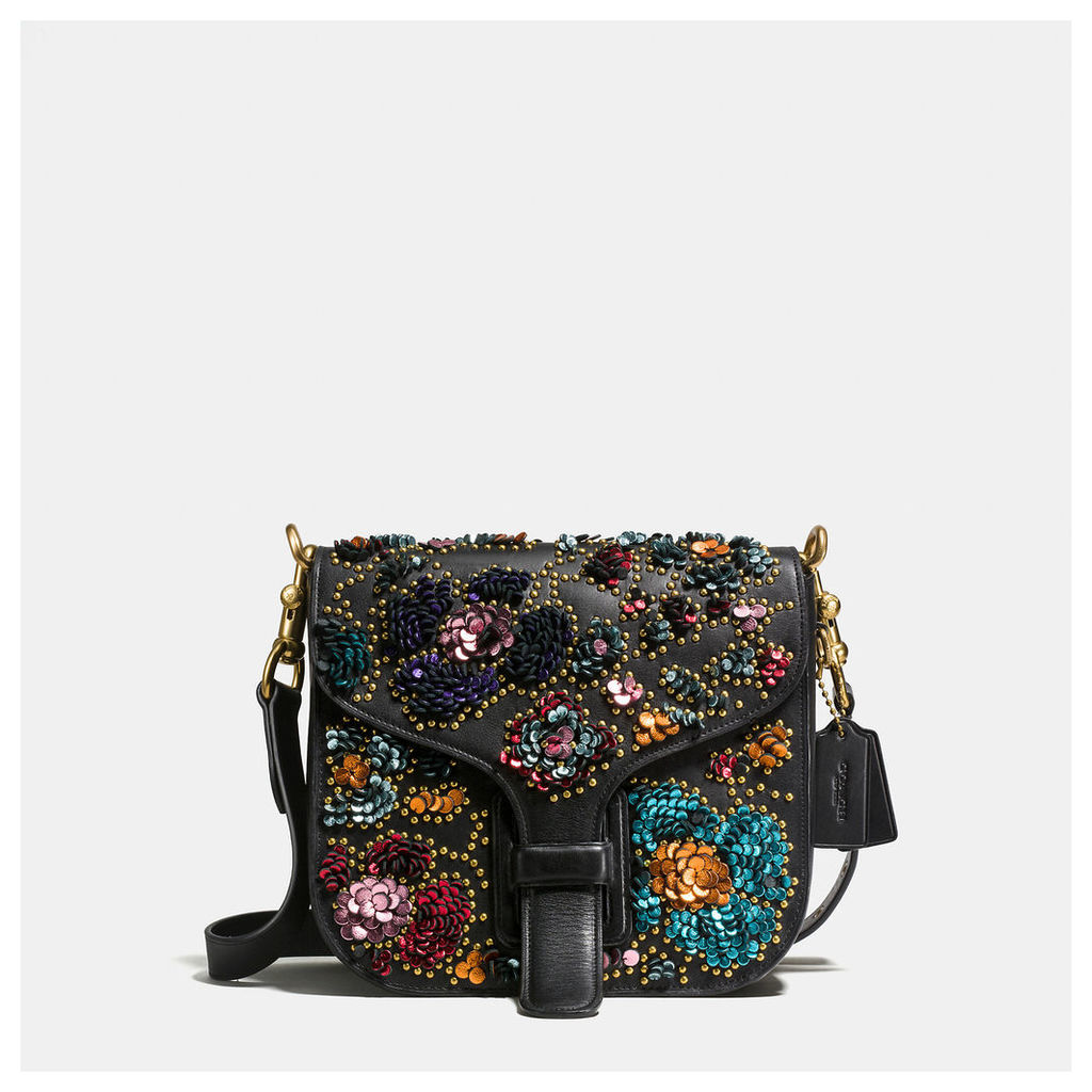 Coach Courier Bag In Glovetanned Leather With Leather Sequins