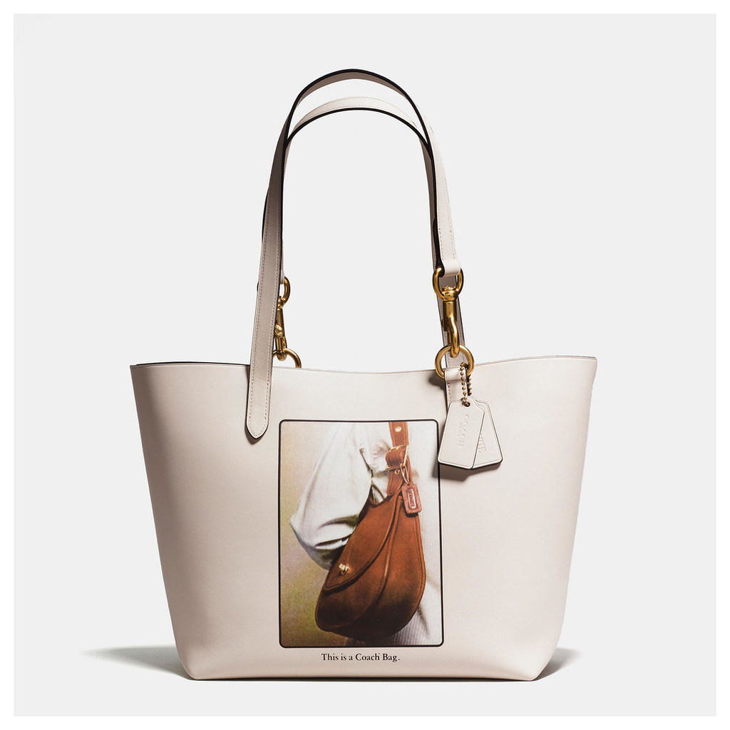 Coach Tote In Glovetanned Leather With Archive Print
