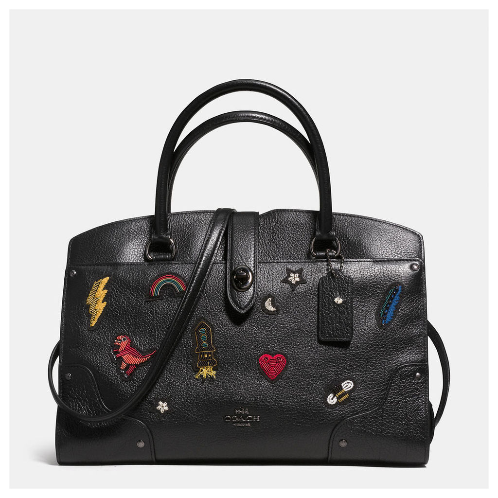 Coach Mercer Satchel 30 In Grain Leather With Souvenir Embroidery