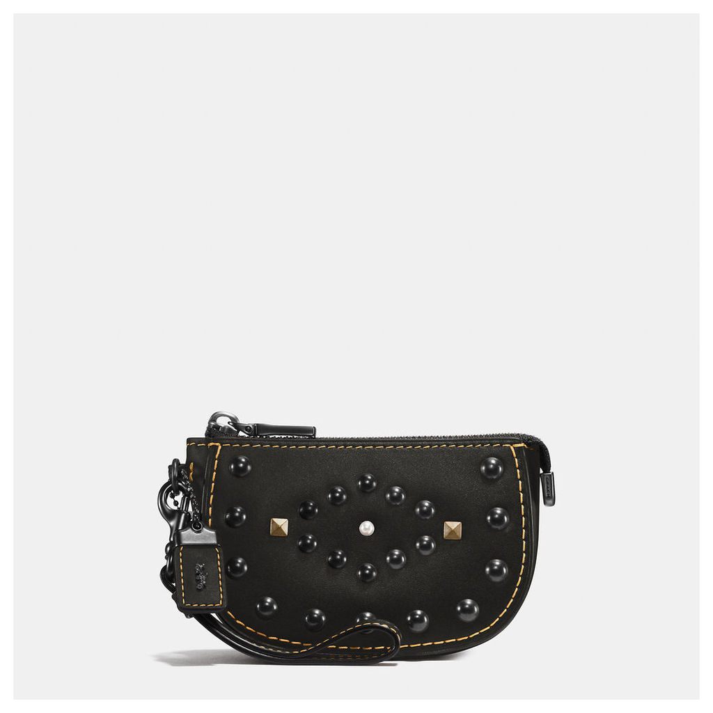 Coach Western Rivets Pouch In Glovetanned Leather