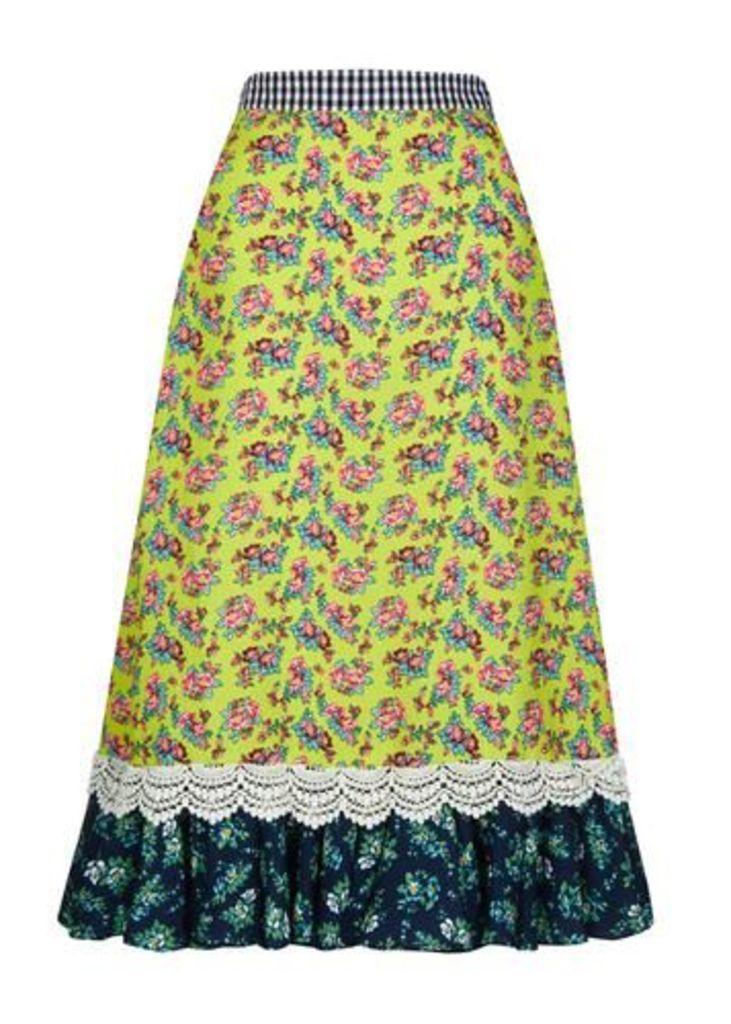 Crepe Ditsy Frill Hem Midi Skirt