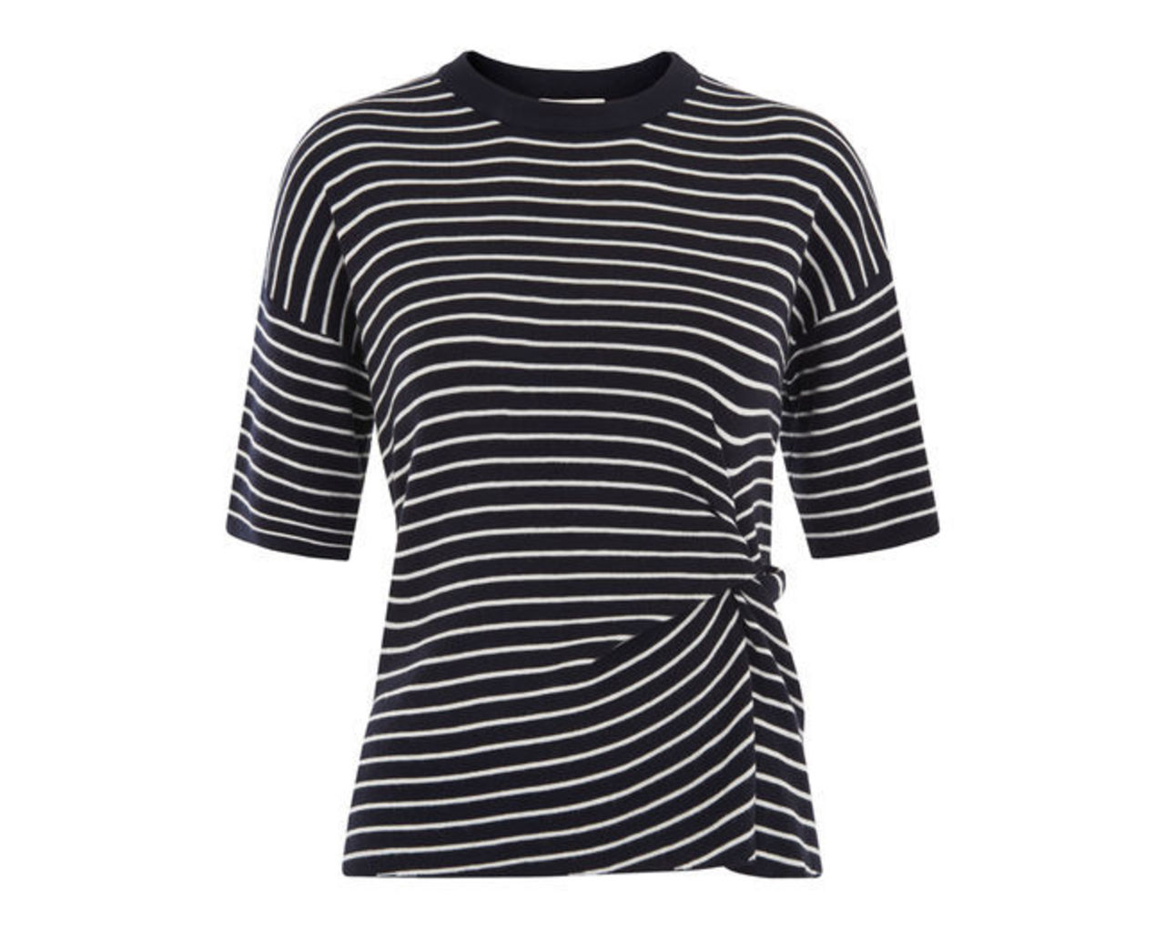 Stripe Knot Front Knitted Tee