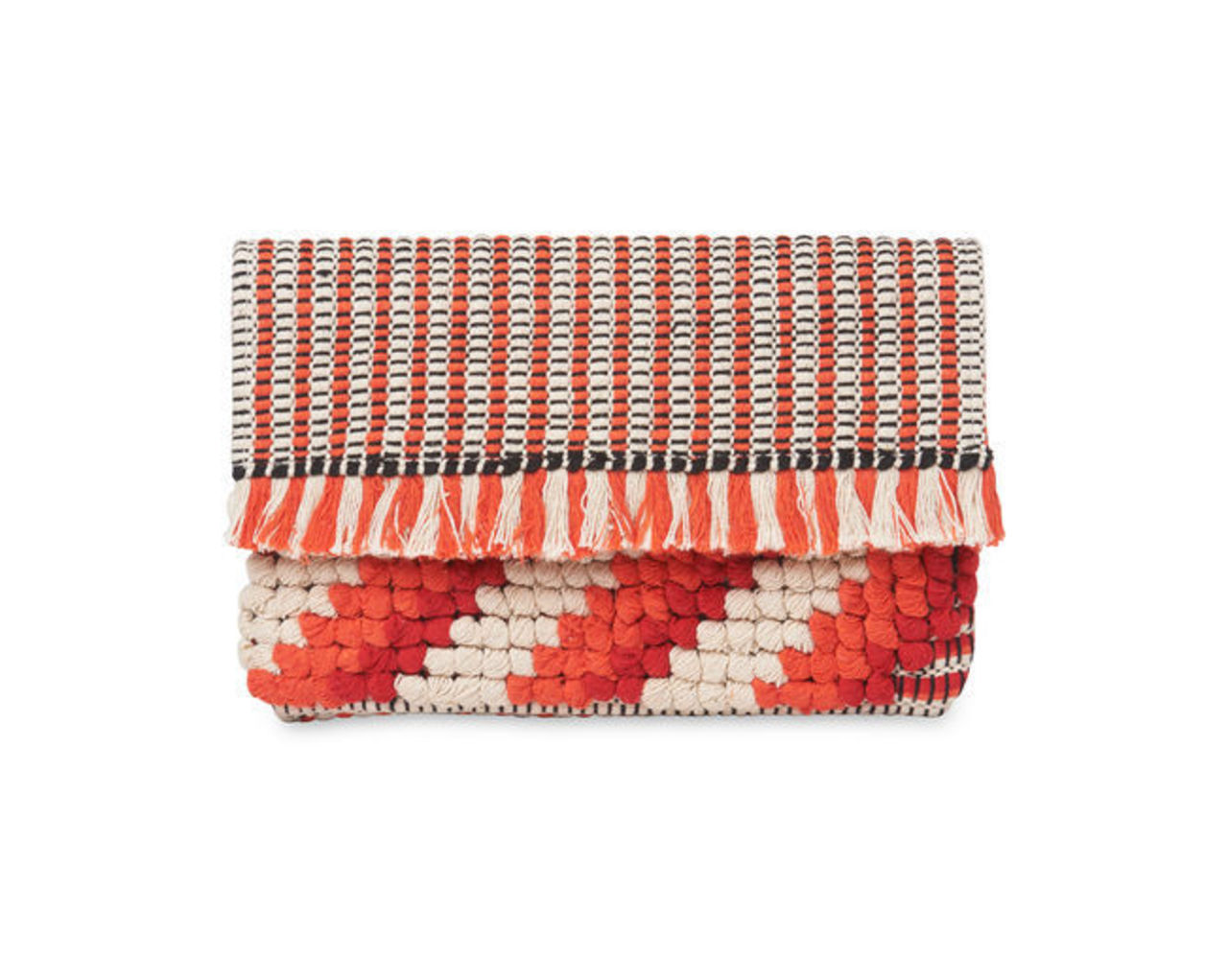 Woven Fringed Clutch
