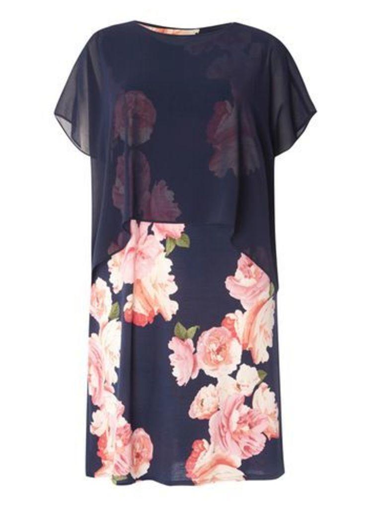 Navy Blue Floral Overlay Dress, Bright Multi