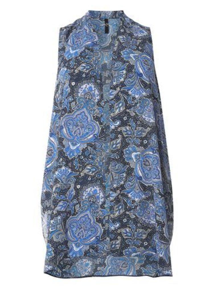 Navy Blue Paisley Print Sleeveless Kimono, Dark Multi