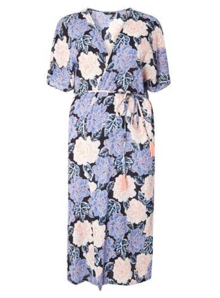 Pastel Floral Kimono, Navy