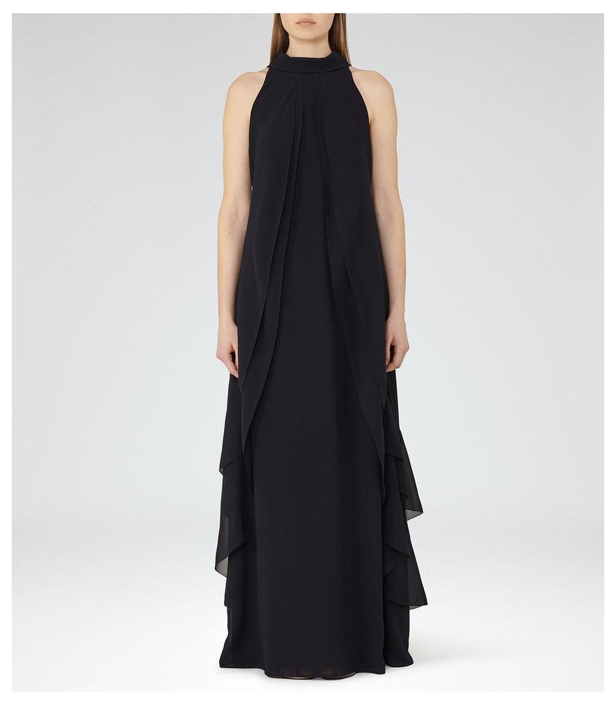 REISS Delani - Womens Ruffle-detail Maxi Dress in Blue