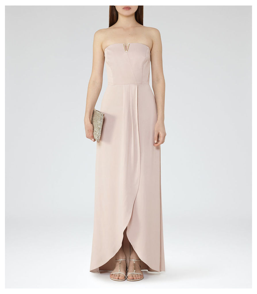 REISS Zosia - Womens Strapless Wrap-front Maxi Dress in Orange