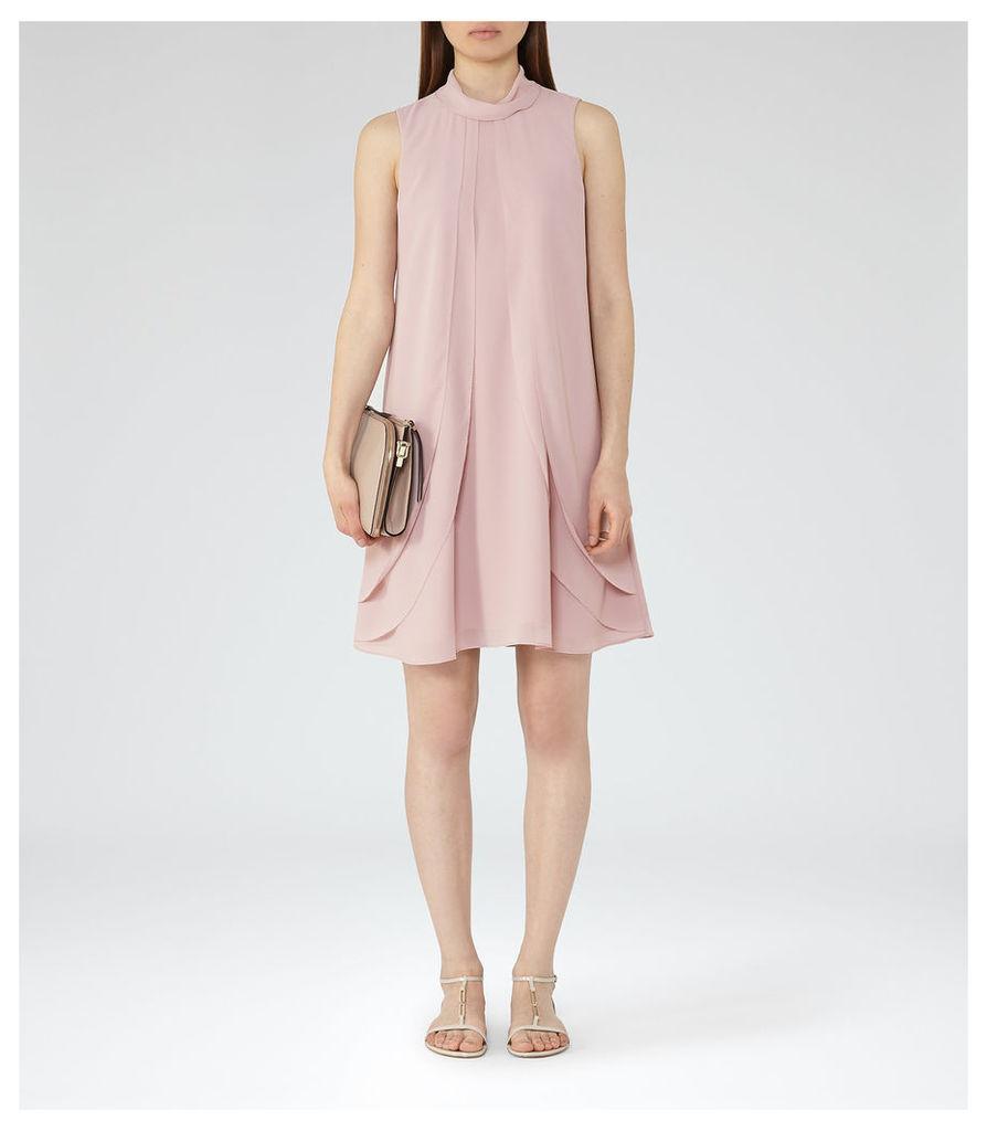 REISS Cohen - Womens Ruffle-front Dress in Pink