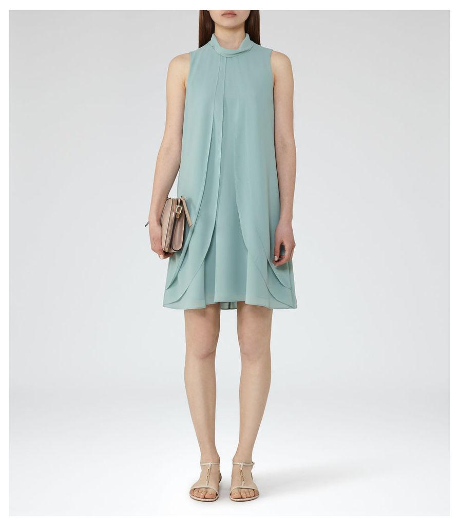 REISS Cohen - Womens Ruffle-front Dress in Green