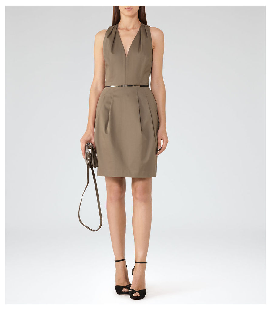 REISS Rakele - Womens V-neck Fit And Flare Dress in Brown