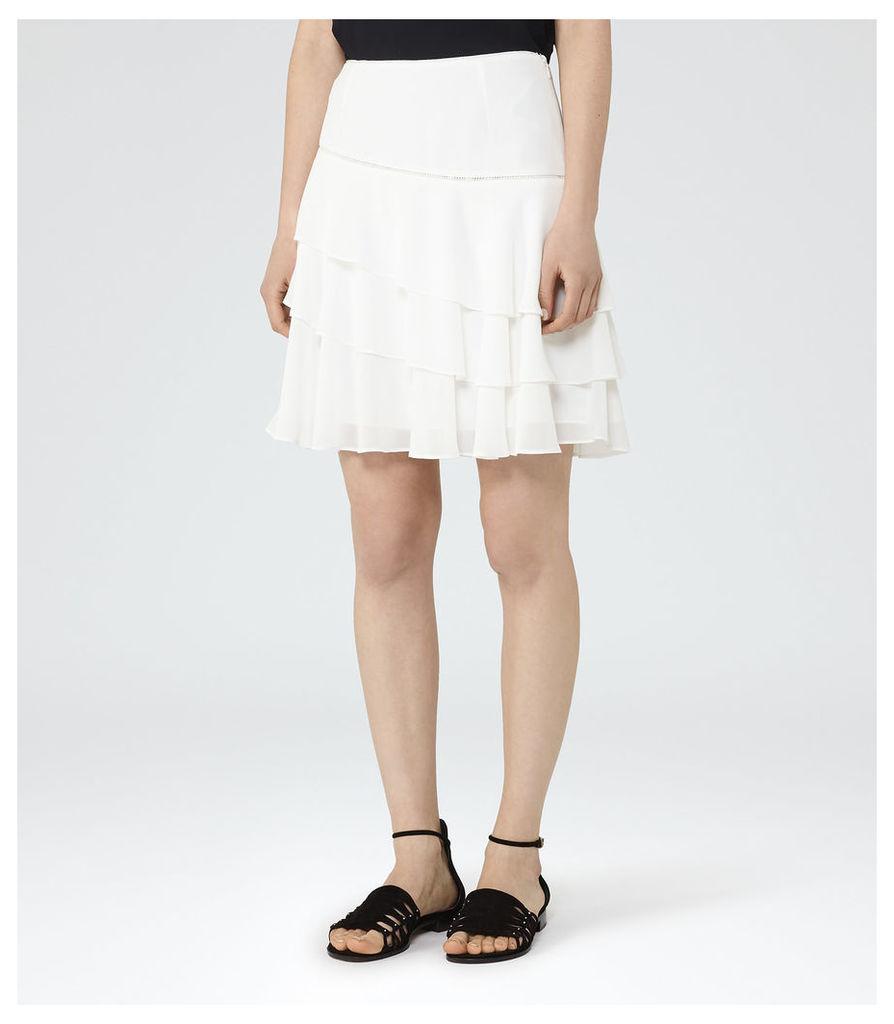 REISS Rufen - Womens Tiered Ruffle Skirt in White