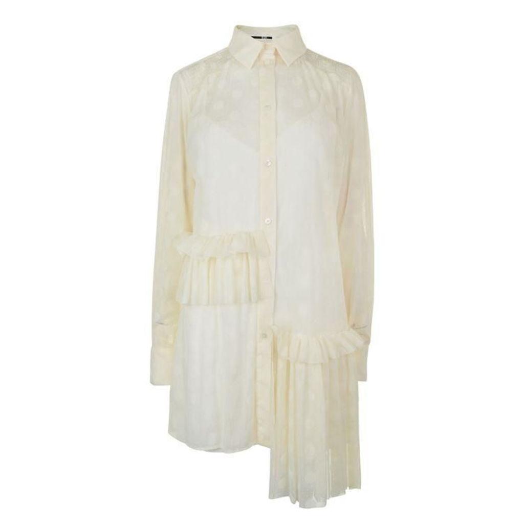 MCQ ALEXANDER MCQUEEN Dot Mesh Ruffle Shirt Dress