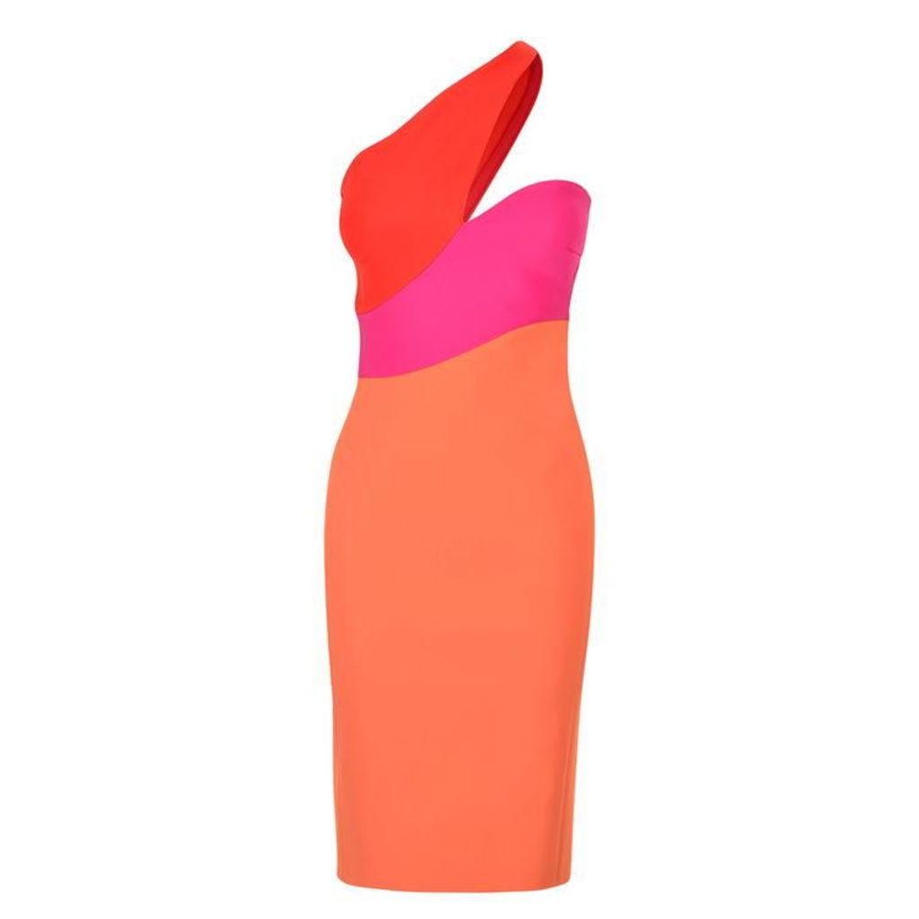 MUGLER Rainbow One Shoulder Dress