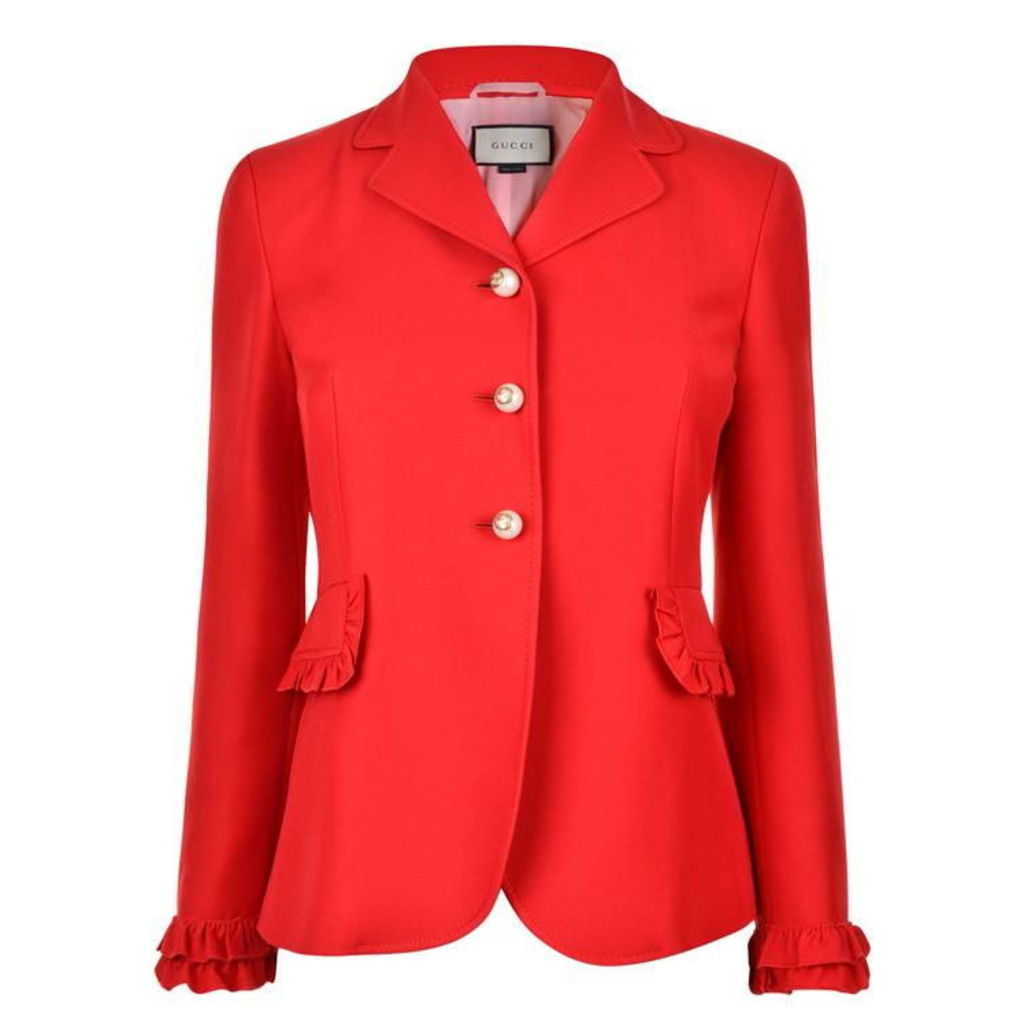 GUCCI Wool Silk Frill Jacket