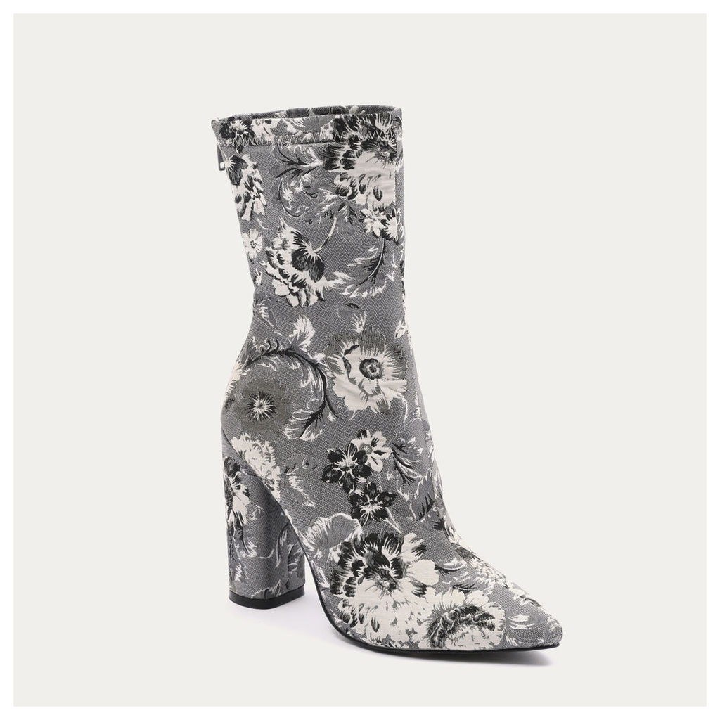 Cupid Floral Pointed Toe Ankle Boots in Black and, Grey