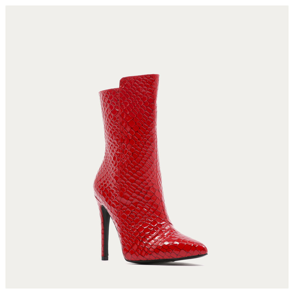 Chile Asymmetric Pointed Toe Ankle Boots  Faux Snake, Red