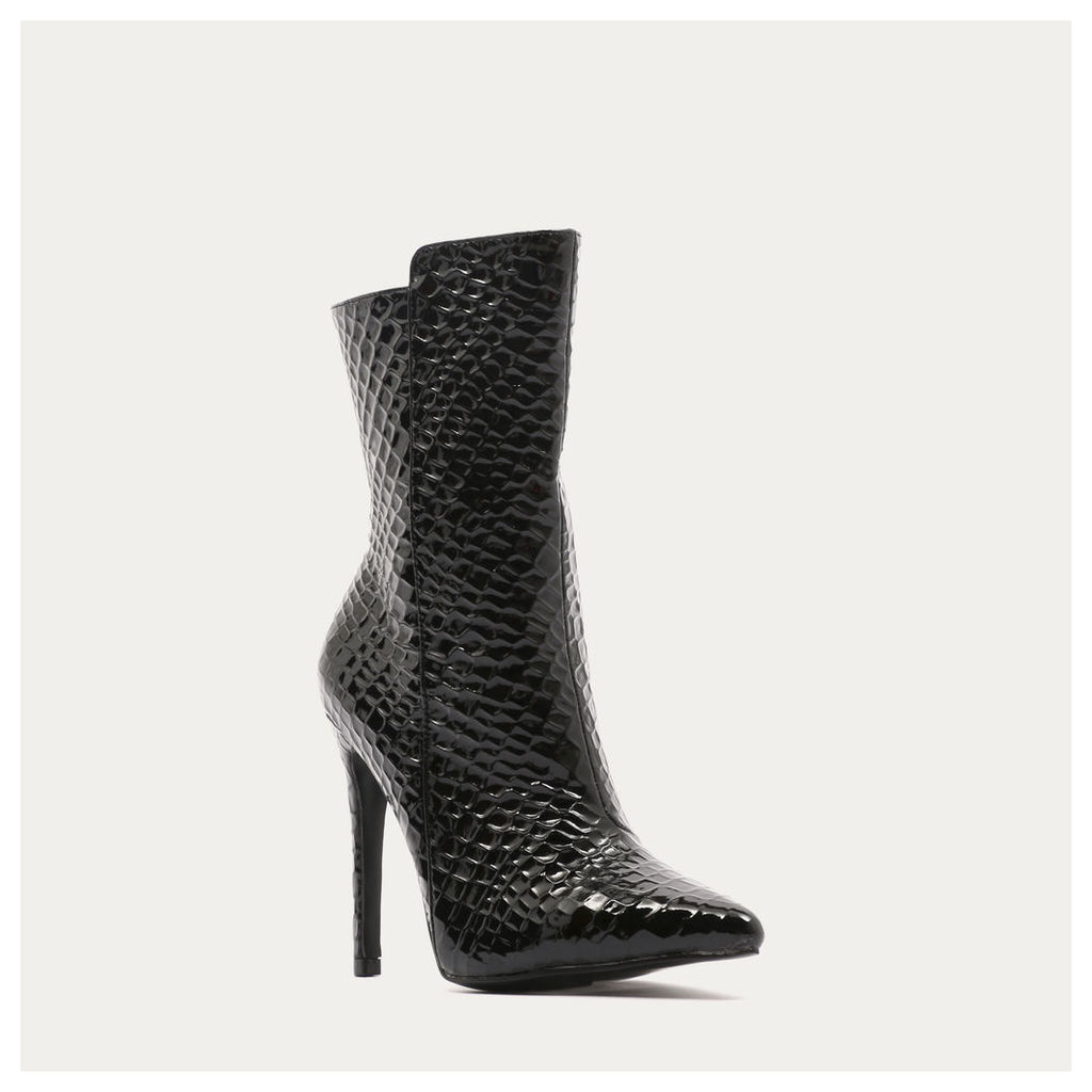 Chile Asymmetric Pointed Toe Ankle Boots  Faux Snake, Black