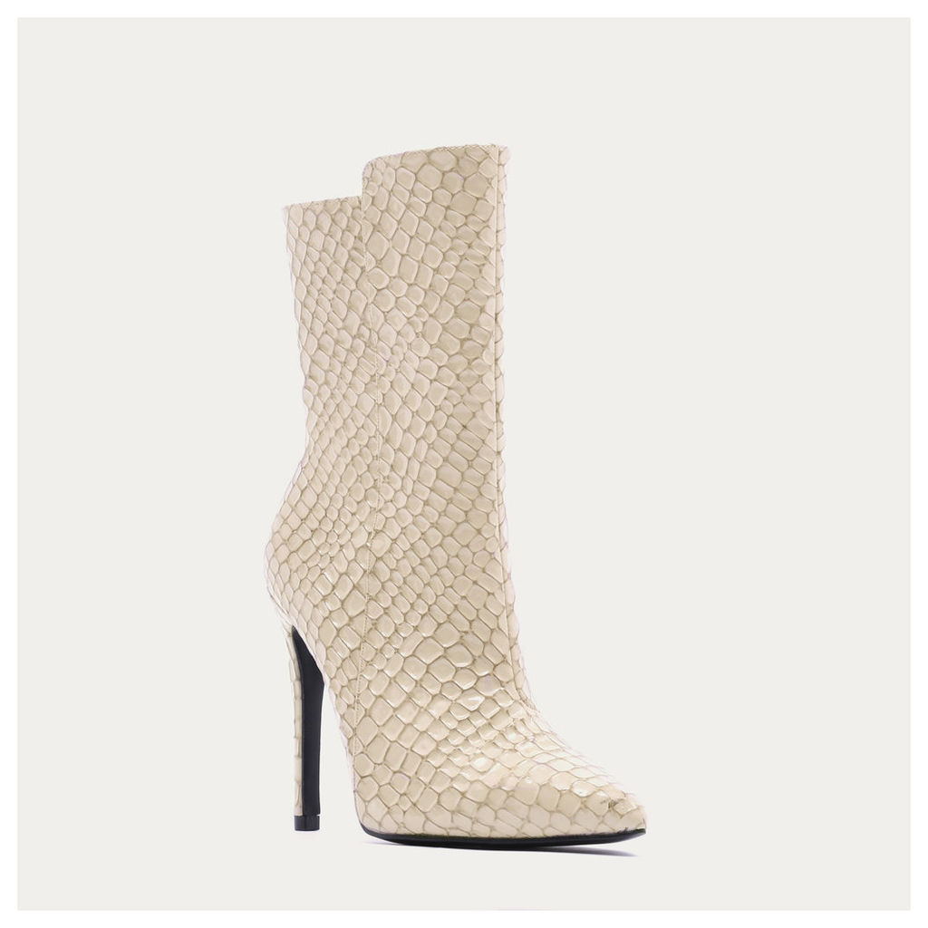 Chile Asymmetric Pointed Toe Ankle Boots  Faux Snake, Nude