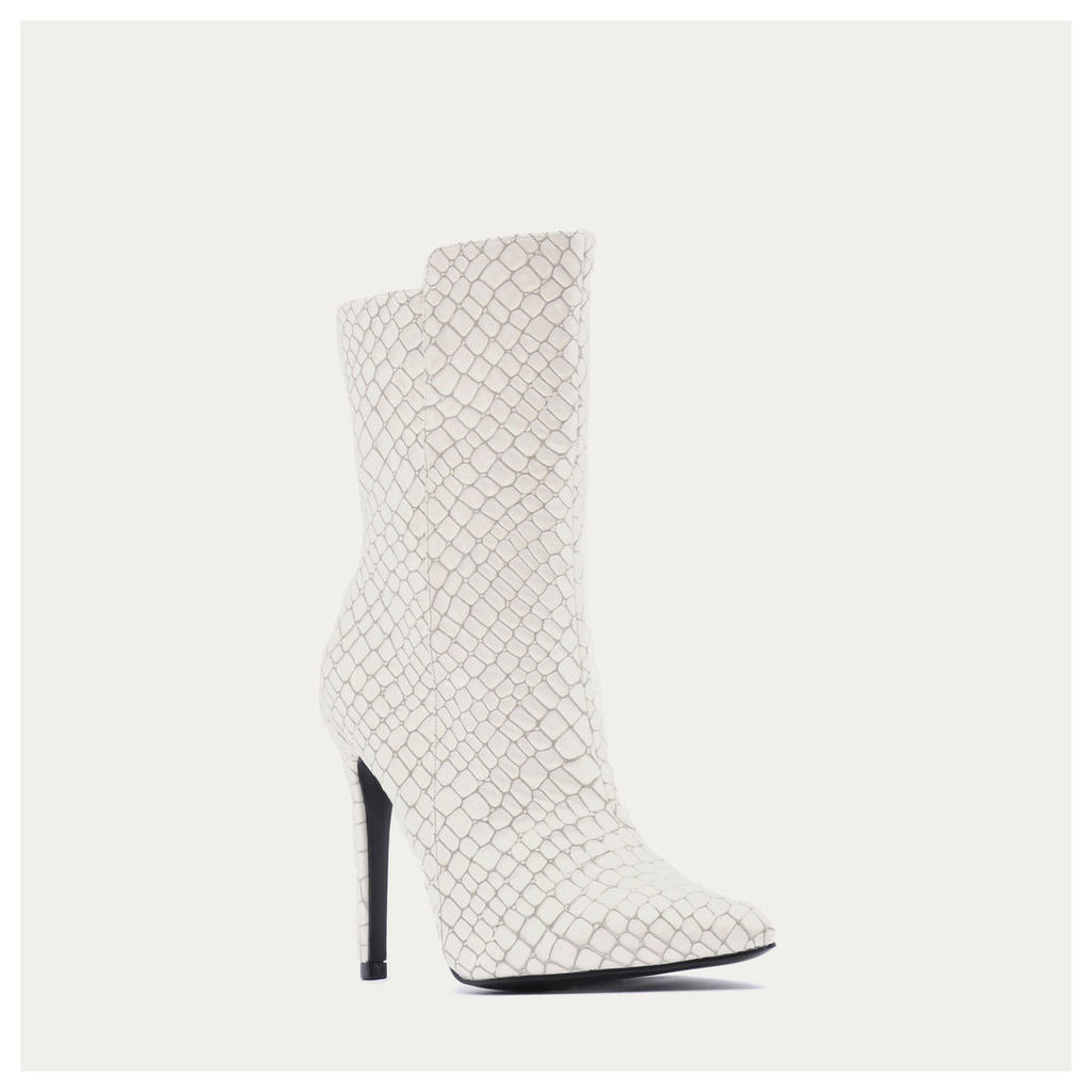 Chile Asymmetric Pointed Toe Ankle Boots  Faux Snake, White