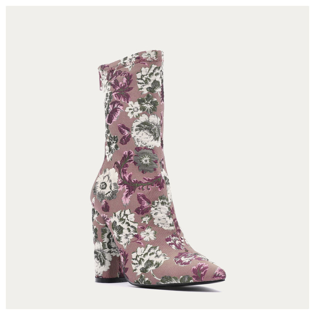 Cupid Floral Pointed Toe Ankle Boots, Pink