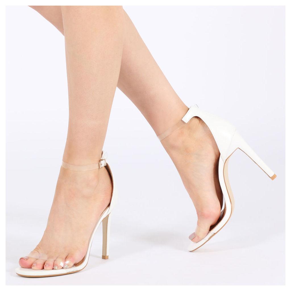 Daisy Clear Strap Stiletto Heels, White