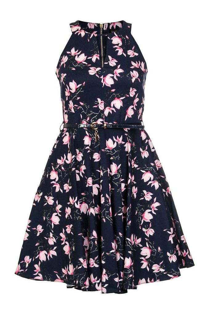 Quiz Navy And Pink Floral Print Skater Dress, Navy