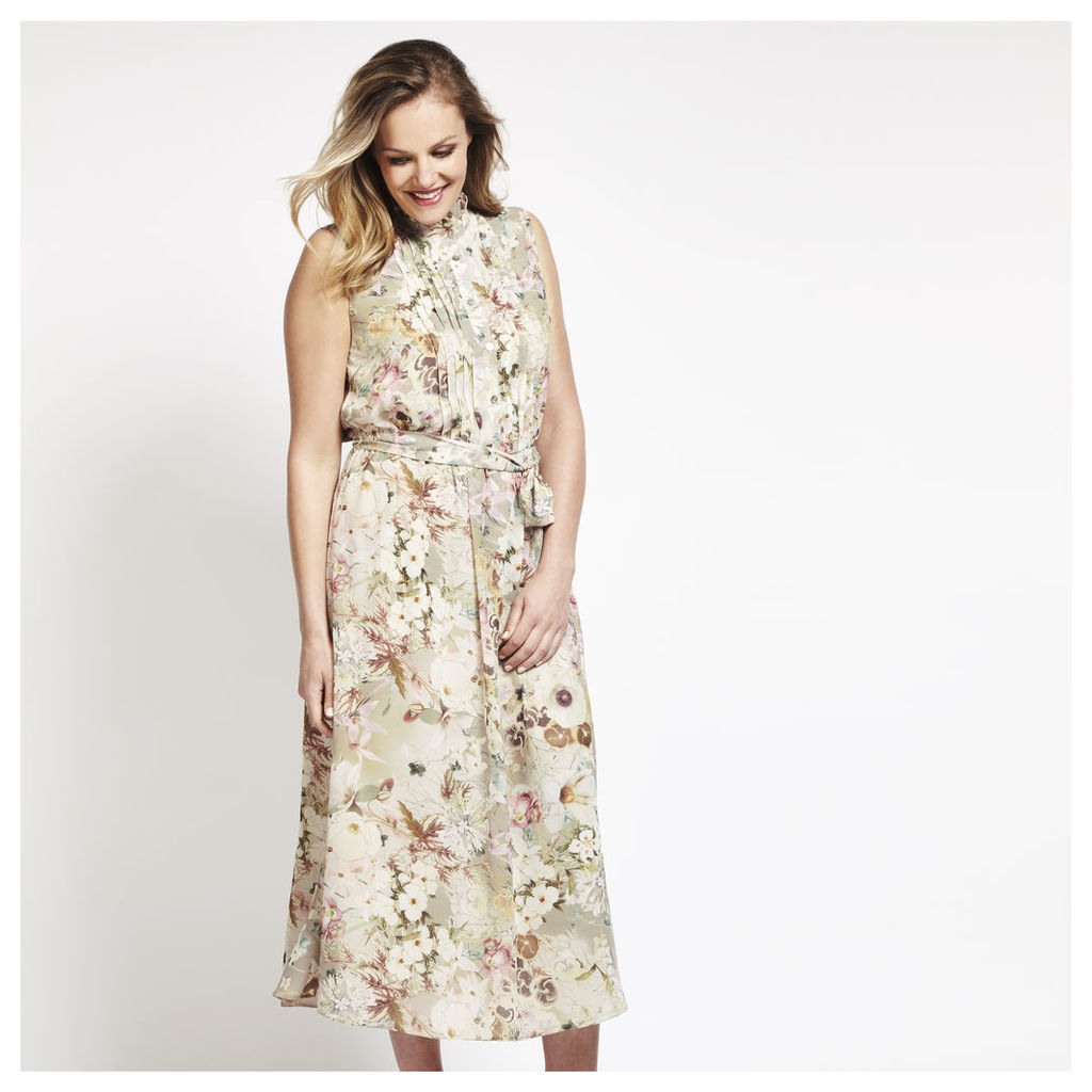 Floral Print Ruffle Neck Long Dress