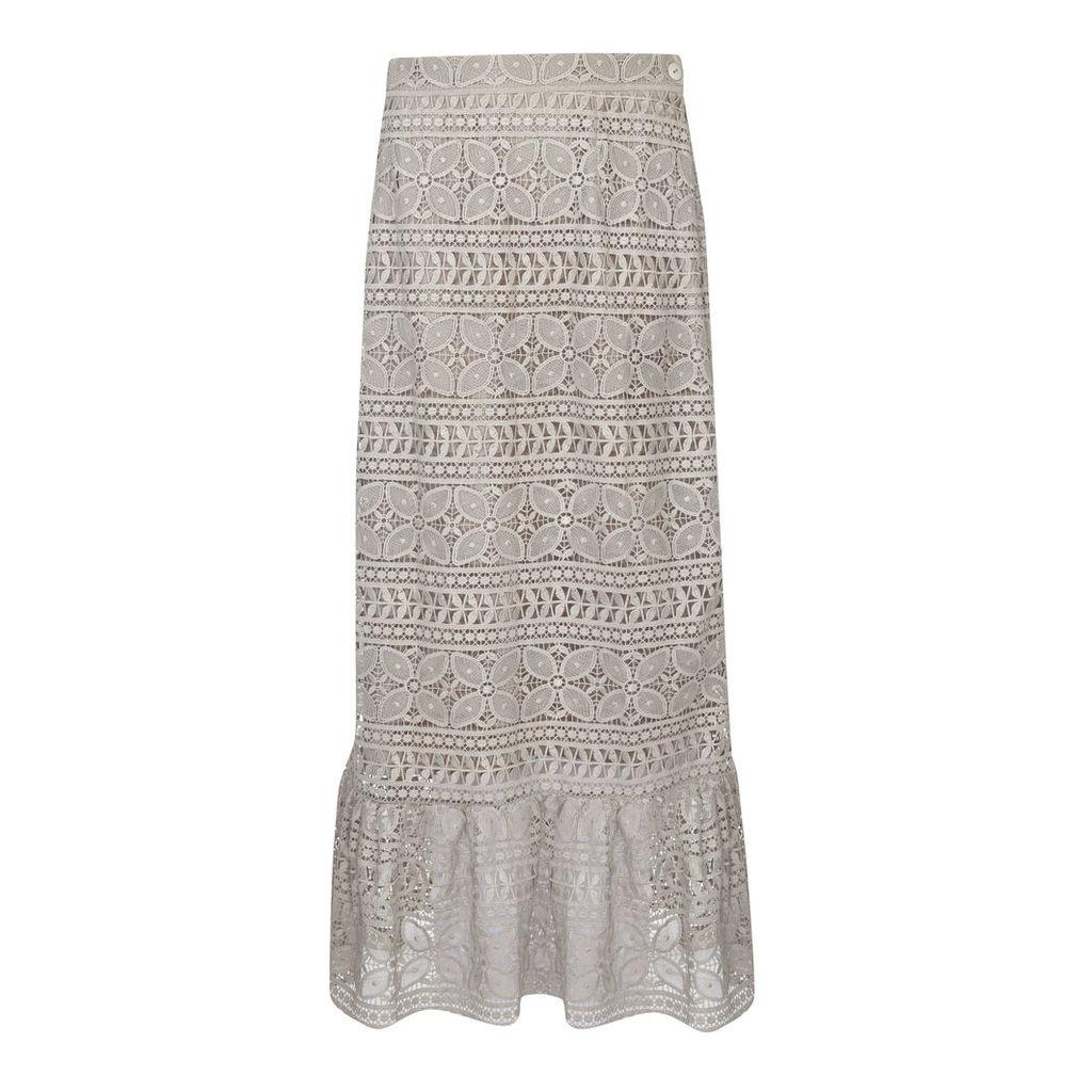 Antique Foil Lace Long Skirt