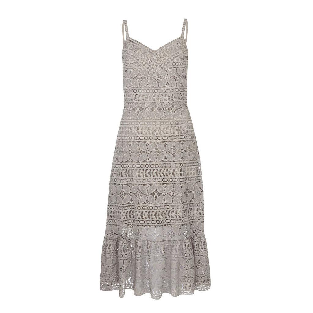 Antique Foil Lace Strappy Dress