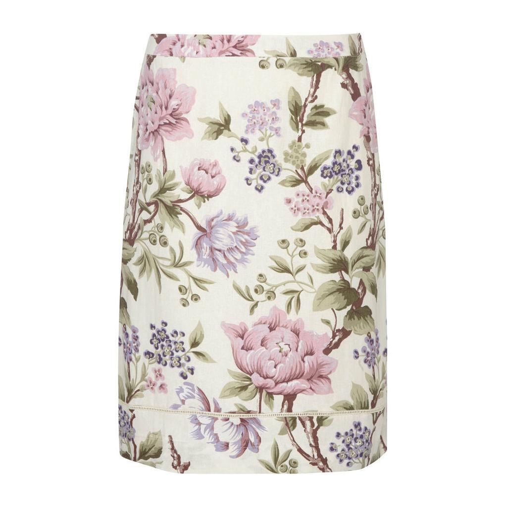 Rose Print Linen Blend Pencil Skirt